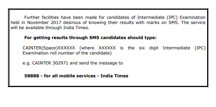 ca ipcc result nov 2017 result via sms