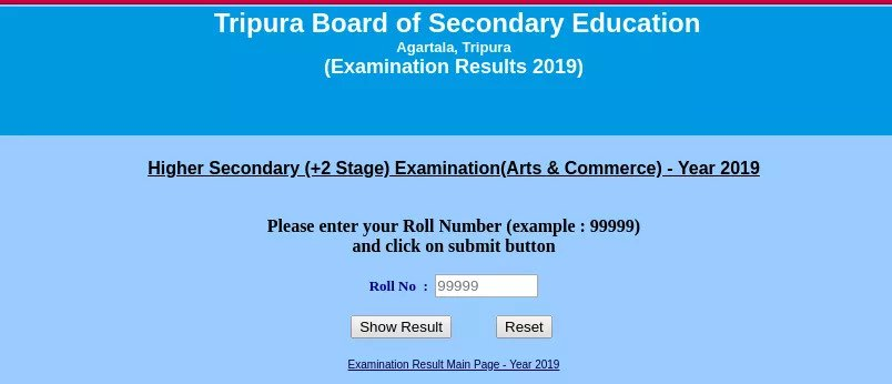 TBSE 12th Result 2020 online